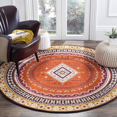Herblain Orange Indoor Area Rug Rug Size: Round 6