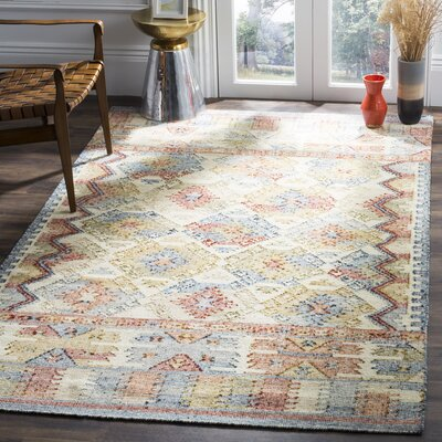 Elan Hand-Woven Ivory/Gray Area Rug Rug Size: 5 x 8