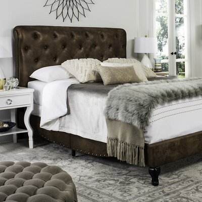Red Oak Upholstered Panel Bed Size: Queen