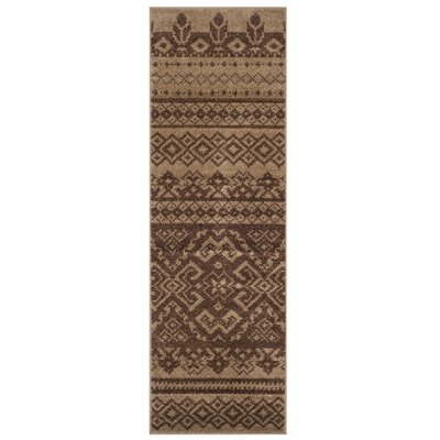 St. Ann Highlands Camel/Chocolate Area Rug Rug Size: Runner 26 x 8