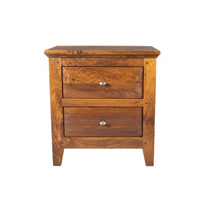 William 2 Drawer Nightstand Color: Honey Brown