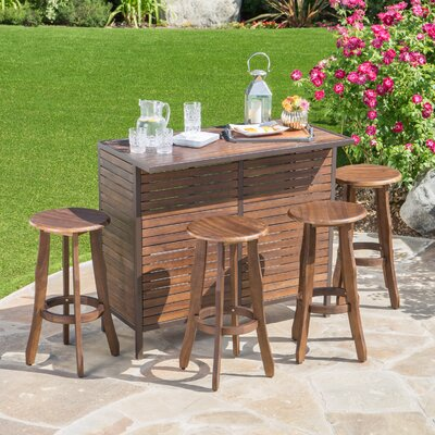 Rockridge Outdoor Acacia Wood 5 Piece Home Bar Set