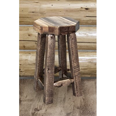 Abella 24 Round Bar Stool Finish: Stain and Clear Lacquer