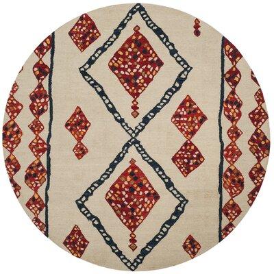 Aldwich Hand-Tufted Beige/Red Area Rug Rug Size: Round 7