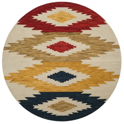 Aldwich Hand-Tufted Multi-Color Area Rug Rug Size: Round 7