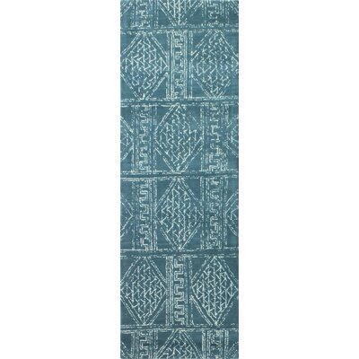 Christian Hand Tufted 100% Wool Blue Area Rug Rug Size: Runner 26 x 8