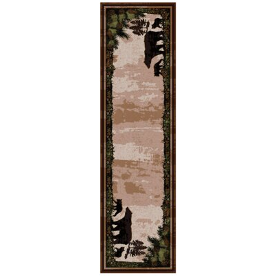 Loyalton Timber Bears Brown Area Rug Rug Size: Runner 2 x 8