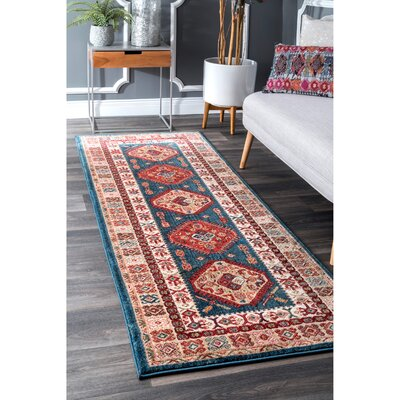 La Puente Blue/Red Area Rug Rug Size: Runner 28 x 8