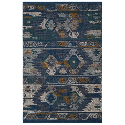 Elan Hand-Woven Blue/Gold Area Rug Rug Size: Rectangle 4 x 6