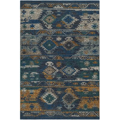 Elan Hand-Woven Blue/Gold Area Rug Rug Size: Rectangle 5 x 8