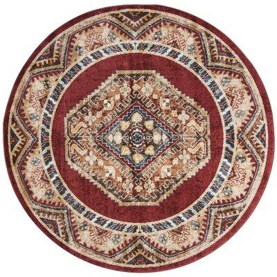 Isanotski Red Area Rug Rug Size: Round 67