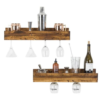 Bernon 5 Bottle Wall Mounted Wine Bottle Rack Finish: Walnut