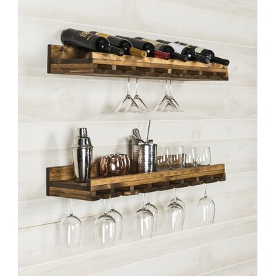 Bernardo Rustic Luxe Tiered Wall Mounted Wine Glass Rack