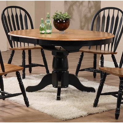 Florentia Extendable Dining Table Color: Rubbed Black and Oak