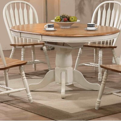 Florentia Extendable Dining Table Color: Antique White and Oak