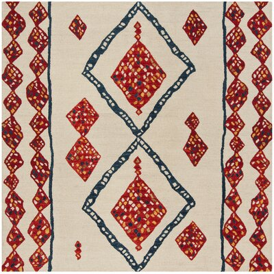 Aldwich Hand-Tufted Beige/Red Area Rug Rug Size: Square 7