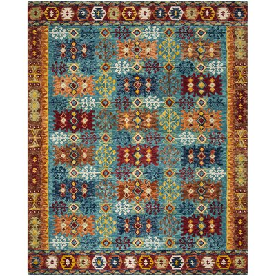 Bobigny Hand-Tufted Blue/Red Area Rug Rug Size: Square 7 x 7