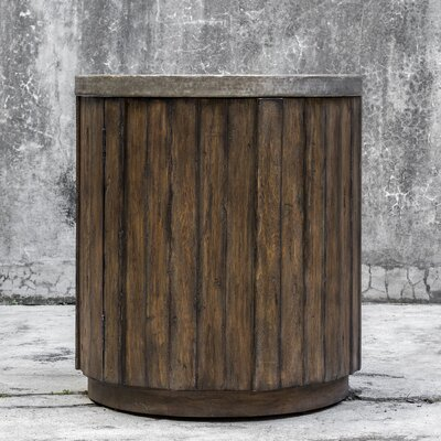 Florentine Wooden Drum End Table