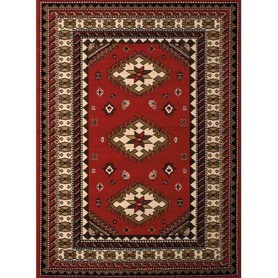 Juana Red Area Rug Rug Size: 53 x 72