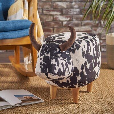 Albarado Cow Ottoman Upholstery: Black