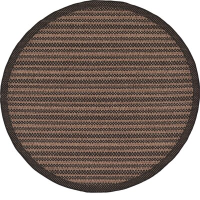 Clayera Brown Outdoor Area Rug Rug Size: Round 6