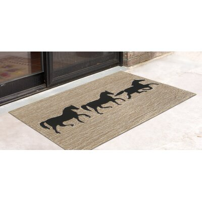 Tamara Horses Hand-Tufted Beige Indoor/Outdoor Area Rug Rug Size: Rectangle 18 x 26