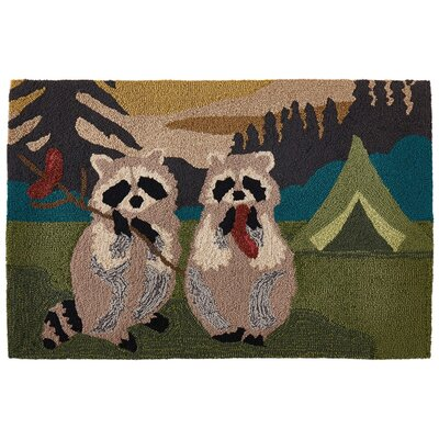 Tamara Camping Racoons Hand-Tufted Green/Beige Indoor/Outdoor Area Rug Rug Size: Rectangle 18 x 26