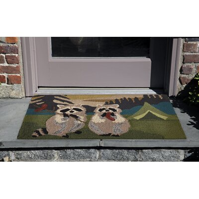 Tamara Camping Racoons Hand-Tufted Green/Beige Indoor/Outdoor Area Rug Rug Size: Rectangle 2 x 3