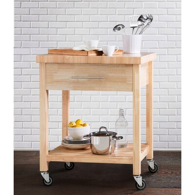 Thissell All Rubber Wood Kitchen Cart