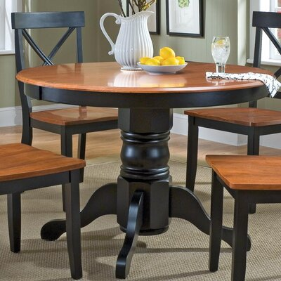 Parkerton Pedestal Dining Table Finish: Black / Oak