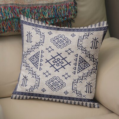 Cyrill Throw Pillow Size: 18 H x 18 W x 5 D, Color: Blue/ Ivory