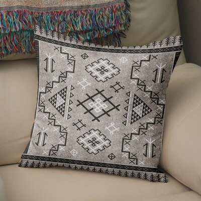 Cyrill Throw Pillow Size: 16 H x 16 W x 5 D, Color: Beige/ Black
