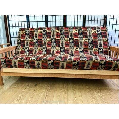 Premium Heavy Texture Box Cushion Futon Slipcover Upholstery: Pink/Beige