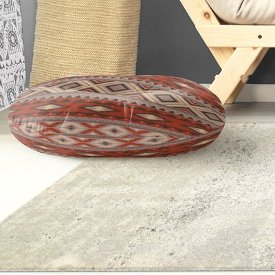 Cabarley Round Floor Pillow Size: 23 H x 23 W x 9.5 D, Color: Red/ Grey