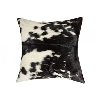 Torino Leather Throw Pillow Color: Black/White