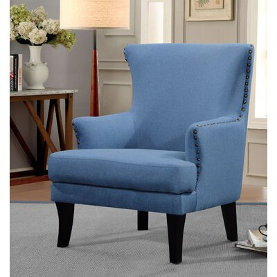 Keyes Armchair Finish: Black, Upholstery: Solid/Light Blue