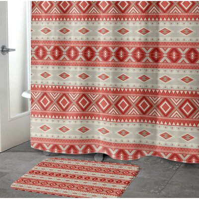 Cabarley Bath Rug Size: 17 W x 24 L, Color: Red/ Tan