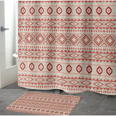 Cabarley Bath Rug Size: 17 W x 24 L, Color: Red/ Tan/ Ivory