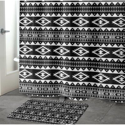 Fleur Memory Foam Bath Rug Size: 17 W x 24 L, Color: Black/ White