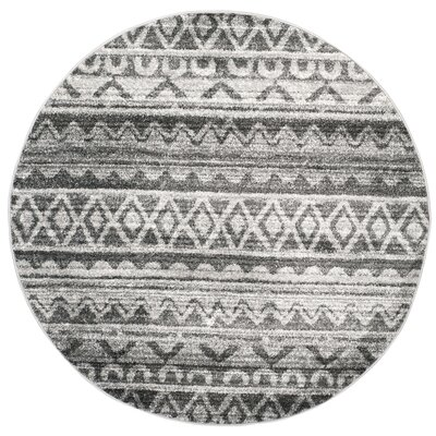 St. Ann Highlands Ivory/Charcoal Area Rug Rug Size: Round 6