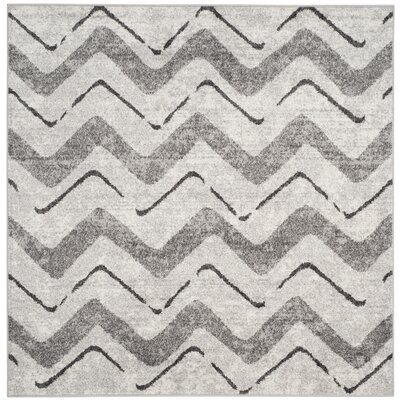 St. Ann Highlands Silver/Charcoal Area Rug Rug Size: Square 6