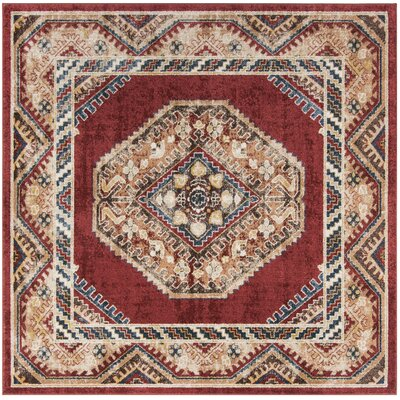 Isanotski Red Area Rug Rug Size: Square 67