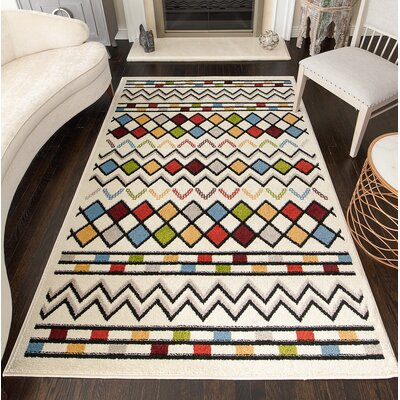 Oviedo Tribal White Area Rug Rug Size: Rectangle 8 x 10