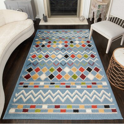 Owens Tribal Blue Area Rug Rug Size: Rectangle 5 x 7