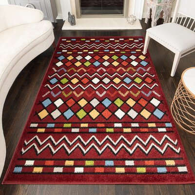 Owensby Tribal Red Area Rug Rug Size: Rectangle 5 x 7