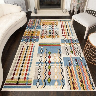 Owings Tribal Cream Area Rug Rug Size: Rectangle 8 x 10