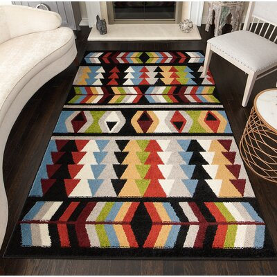 Oxley Tribal Black Area Rug Rug Size: Rectangle 8 x 10