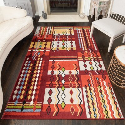 Owsley Tribal Red Area Rug Rug Size: Rectangle 8 x 10