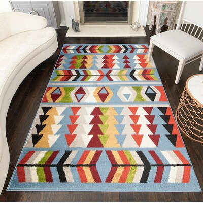 Oxendine Tribal Blue Area Rug Rug Size: Rectangle 8 x 10