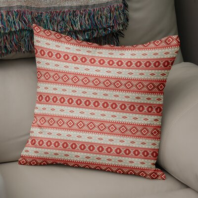 Cabarley Throw Pillow Size: 16 H x 16 W x 5 D, Color: Red/ Tan